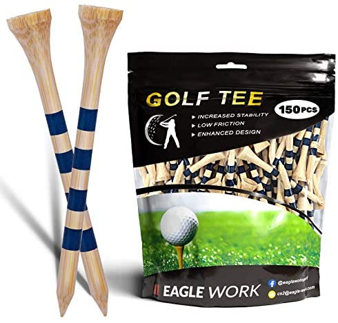 """518sj1sNvLL. AC  - EAGLE WORK Bamboo Golf Tees, 4 (1-1/2"""", 2-1/8"""", 2-3/4'' & 3-1/4''), Pack of 150/100 Professional Tees, Reduce Friction & Side Spin, More Durable and Stable Golf Tees"""