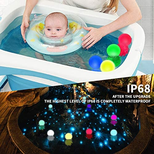 51BwzDAkRuL. AC  - WHATOOK Floating Pool Lights: 6Pack 16 Color Changing Remote Led Ball Light IP68 Waterproof Bath Toys,Replaceable Battery Hot Tub Glow Night Lights for Swimming Pool,Garden,Wedding Decor