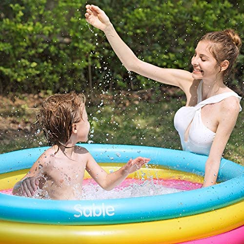51DhLXJr1UL. AC  - Sable Kiddie Pool, Inflatable Baby Pool 58'' x 13'', Kids Swimming Pools for Babies, Toddlers, Outdoor, Indoor, Garden