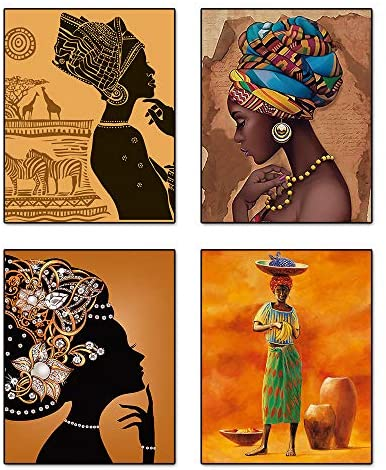 """51F5BFPN3XL. AC  - Retro Style Tribal African American Wall Art Painting Set of 4 (8""""X10"""" Canvas Picture) Black Woman Ethnic Ancient Theme Diamond Girl Room Poster Art Painting Bedroom or Bathroom Decor Unframed"""