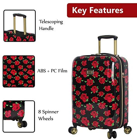 51Hs LxXBnL. AC  - Betsey Johnson Designer 20 Inch Carry On - Expandable (ABS + PC) Hardside Luggage - Lightweight Durable Suitcase With 8-Rolling Spinner Wheels for Women (Covered Roses)