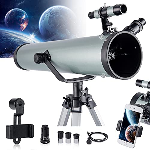 51I3czzlj S. AC  - Astronomical Telescope for Kids and Astronomy Beginners, 700mm/76mm Starter Scope Good Partner to View Landscape and Planet, with Tripod, Wire Shutter, Phone Adapter