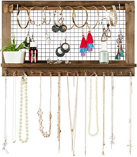 51JHcetiGPL. AC  - Rustic Jewelry Organizer with Bracelet Rod Wall Mounted - Wooden Wall Mount Holder for Earrings, Necklaces, Bracelets, and Many Other Accessories SoCal Buttercup