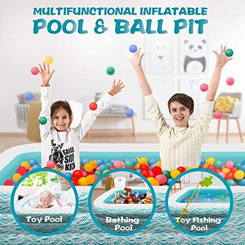 """51JHh1r1wZL. AC  - heytech Family Inflatable Swimming Pool, 118"""" X 72"""" X 22"""" Full-Sized Inflatable Lounge Pool for Kiddie, Kids, Adult, Toddlers for Ages 3+, Outdoor, Garden, Backyard Summer Water Party Blow up Pool…"""