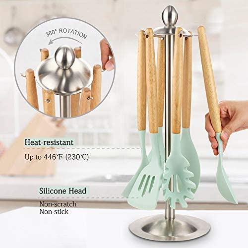 51Krq5LWRXL. AC  - Silicone Kitchen Cooking Utensil Set, EAGMAK 16PCS Kitchen Utensils Spatula Set with Stainless Steel Stand for Nonstick Cookware, BPA Free Non-Toxic Cooking Utensils, Kitchen Tools Gift (Mint Green)