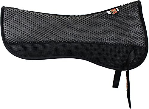 51O2ELkmOUL. AC  - ECP All Purpose Grip Tech Half Saddle Pad Non Slip Top Brushed Cotton Bottom Compression Foam Breathable Shock Absorbing Moisture Wicking with Mesh Flaps