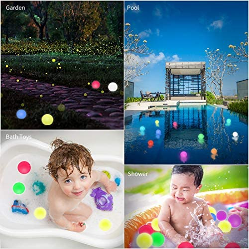 51Q0h XChxL. AC  - WHATOOK Floating Pool Lights: 6Pack 16 Color Changing Remote Led Ball Light IP68 Waterproof Bath Toys,Replaceable Battery Hot Tub Glow Night Lights for Swimming Pool,Garden,Wedding Decor