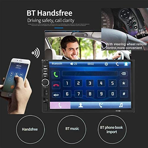 51SOerq5JjL. AC  - Car Stereo 2 Din,7 inch Touch Screen MP5/MP4/MP3 Multimedia Player,Bluetooth Audio,Car Stereo Receivers,FM Radio,USB/SD/AUX Input,Mirror Link,Support Steering Wheel Remote Control,Rear View Camera