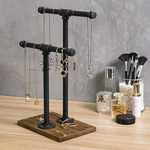 51TBGRvFjDL. AC  - MyGift 2-Tier Urban Rustic Metal Industrial Pipe & Brown Wood T-Bar Necklace Jewelry Stand