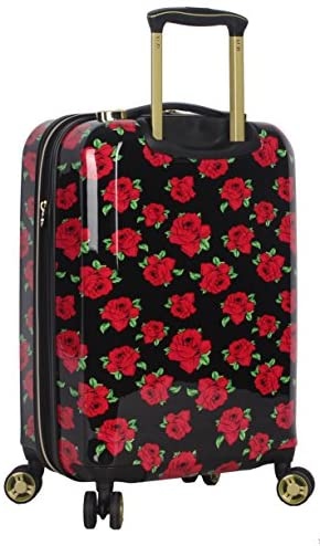 51TldyCmqPL. AC  - Betsey Johnson Designer 20 Inch Carry On - Expandable (ABS + PC) Hardside Luggage - Lightweight Durable Suitcase With 8-Rolling Spinner Wheels for Women (Covered Roses)