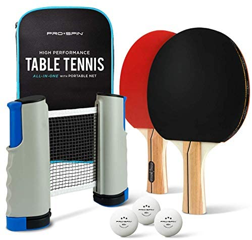 51Tpf PToWL. AC  - PRO SPIN Play Anywhere Portable Ping Pong Set – 2-Player Kit with Ping Pong Net for Any Table, Premium Ping Pong Paddles, 3-Star Balls, Convenient Storage Case | Table Tennis Set with Retractable Net