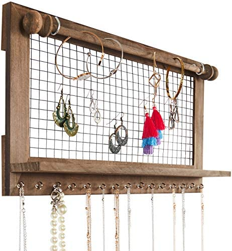 51WDwtwZsbL. AC  - Rustic Jewelry Organizer with Bracelet Rod Wall Mounted - Wooden Wall Mount Holder for Earrings, Necklaces, Bracelets, and Many Other Accessories SoCal Buttercup