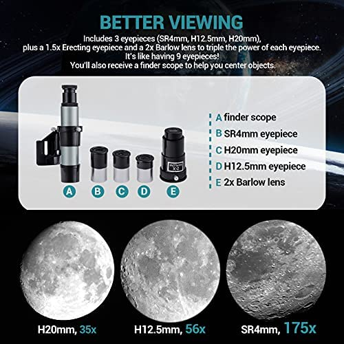 51WEtR+UkzS. AC  - Astronomical Telescope for Kids and Astronomy Beginners, 700mm/76mm Starter Scope Good Partner to View Landscape and Planet, with Tripod, Wire Shutter, Phone Adapter