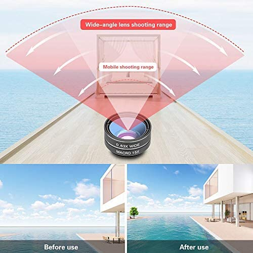 51ZnK3jhDpL. AC  - Godefa Phone Camera Lens Kit, 14 in 1 Lenses with Selfie Ring Light for iPhone 12, 11, Xs, Xr,8 7 6s Plus, Samsung and Other Andriod Smartphone, Universal Clip on Wide Angle+Macro+ Zoom Camera Lenses