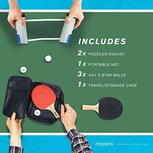 51bytLTMKLL. AC  - PRO SPIN Play Anywhere Portable Ping Pong Set – 2-Player Kit with Ping Pong Net for Any Table, Premium Ping Pong Paddles, 3-Star Balls, Convenient Storage Case | Table Tennis Set with Retractable Net