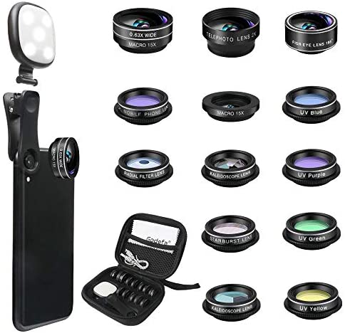 51cXiHytyrL. AC  - Godefa Phone Camera Lens Kit, 14 in 1 Lenses with Selfie Ring Light for iPhone 12, 11, Xs, Xr,8 7 6s Plus, Samsung and Other Andriod Smartphone, Universal Clip on Wide Angle+Macro+ Zoom Camera Lenses