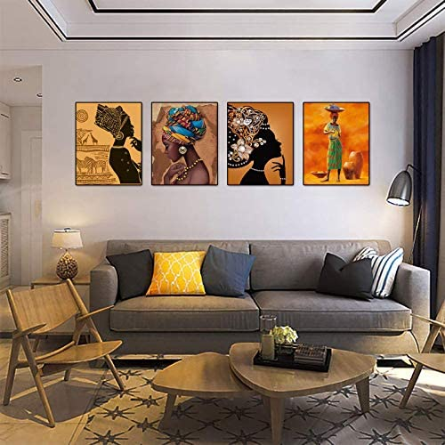 """51dCP0dJgHL. AC  - Retro Style Tribal African American Wall Art Painting Set of 4 (8""""X10"""" Canvas Picture) Black Woman Ethnic Ancient Theme Diamond Girl Room Poster Art Painting Bedroom or Bathroom Decor Unframed"""