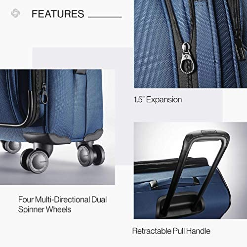 51fRex4WySL. AC  - Samsonite Leverage LTE Softside Expandable Luggage with Spinner Wheels, Poseidon Blue, Checked-Medium 25-Inch