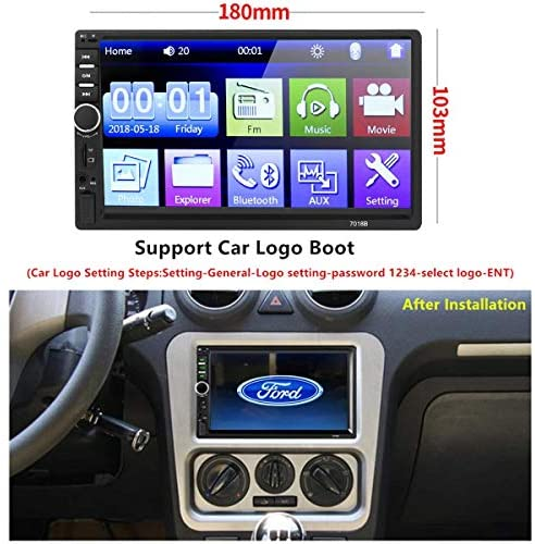 51gTeByDBUL. AC  - Car Stereo 2 Din,7 inch Touch Screen MP5/MP4/MP3 Multimedia Player,Bluetooth Audio,Car Stereo Receivers,FM Radio,USB/SD/AUX Input,Mirror Link,Support Steering Wheel Remote Control,Rear View Camera