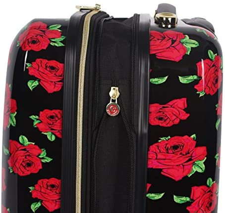 51hmfoczhkL. AC  - Betsey Johnson Designer 20 Inch Carry On - Expandable (ABS + PC) Hardside Luggage - Lightweight Durable Suitcase With 8-Rolling Spinner Wheels for Women (Covered Roses)