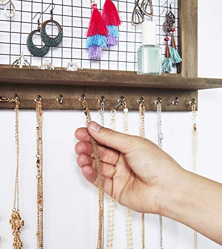 51iR5t UEVL. AC  - Rustic Jewelry Organizer with Bracelet Rod Wall Mounted - Wooden Wall Mount Holder for Earrings, Necklaces, Bracelets, and Many Other Accessories SoCal Buttercup