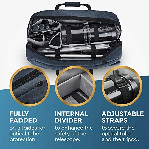 51ijvX4BXfL. AC  - Multipurpose Telescope Case - Fits Most Telescopes - 30x11.5X10 inch - Smart Phone Adapter Included