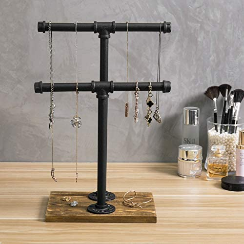 51kOGCNcT4L. AC  - MyGift 2-Tier Urban Rustic Metal Industrial Pipe & Brown Wood T-Bar Necklace Jewelry Stand