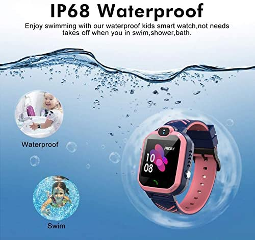 51lA2XDfL L. AC  - Kids Waterproof Smart Watch Phone, GPS/LBS Tracker Smart Watch for Kids for 3-12 Year Old Compatible iOS Android Smart Watch Christmas Birthday Gifts for Kids(Excluding SIM Card)