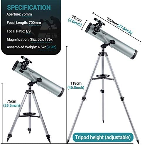 51mfvYW52SL. AC  - Astronomical Telescope for Kids and Astronomy Beginners, 700mm/76mm Starter Scope Good Partner to View Landscape and Planet, with Tripod, Wire Shutter, Phone Adapter