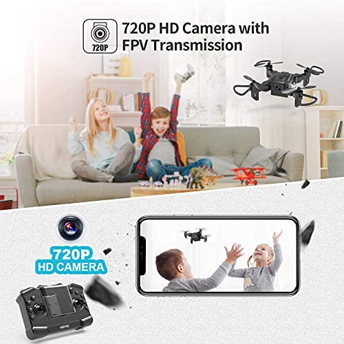 51nsfif3LpS. AC  - 4DRC Mini Drone with 720P Camera for Kids Beginners,RC Quadcopter Helicopter FPV HD Live Video,Toys Gifts for Boys Girl,3 Batteries,One Key Return,Headless Mode,Trajectory Flight,3D Flips