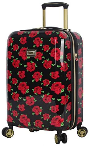 51qJbqnx5yL. AC  - Betsey Johnson Designer 20 Inch Carry On - Expandable (ABS + PC) Hardside Luggage - Lightweight Durable Suitcase With 8-Rolling Spinner Wheels for Women (Covered Roses)