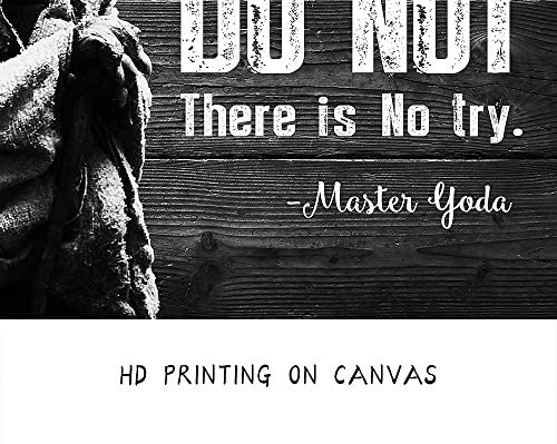 51qZg46t4JL. AC  - Motivational Wall Art Inspirational Quotes of Master Yoda Vintage Giclee Canvas Wall Art Framed for Home and Office Decor (Black)
