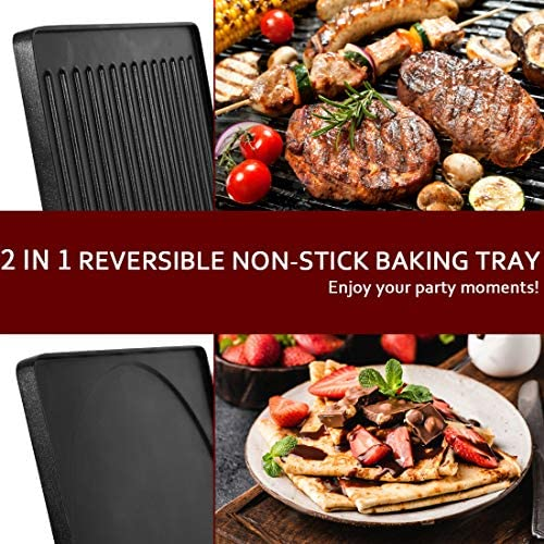 51rImmHv5pL. AC  - CUSIMAX Raclette Grill Electric Grill Table, Portable 2 in 1 Korean BBQ Grill Indoor & Cheese Ractlette, Reversible Non-stick plate, Crepe Maker with Adjustable temperature control and 8 Paddles