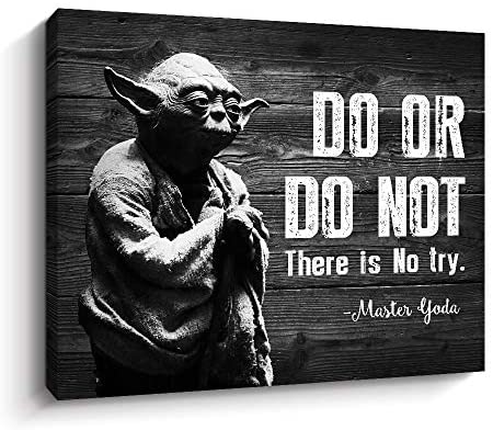 51slyEsZwOL. AC  - Motivational Wall Art Inspirational Quotes of Master Yoda Vintage Giclee Canvas Wall Art Framed for Home and Office Decor (Black)
