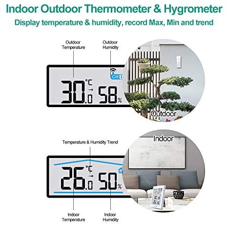 51sxeF2eeUL. AC  - BALDR Wireless Weather Station, Digital Indoor Outdoor Thermometer Hygrometer with Backlight LCD Display and External Sensor, Ideal for Weather Forecast Monitoring, Alarm Clock - White