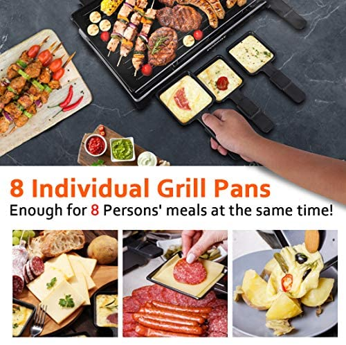 51tCgC1f1gL. AC  - CUSIMAX Raclette Grill Electric Grill Table, Portable 2 in 1 Korean BBQ Grill Indoor & Cheese Ractlette, Reversible Non-stick plate, Crepe Maker with Adjustable temperature control and 8 Paddles