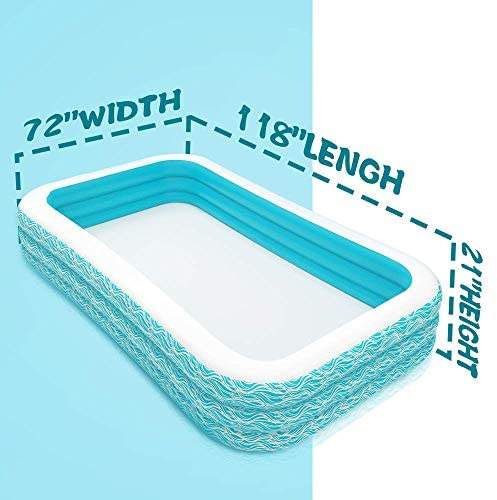 """51uSIs8NEVL. AC  - heytech Family Inflatable Swimming Pool, 118"""" X 72"""" X 22"""" Full-Sized Inflatable Lounge Pool for Kiddie, Kids, Adult, Toddlers for Ages 3+, Outdoor, Garden, Backyard Summer Water Party Blow up Pool…"""
