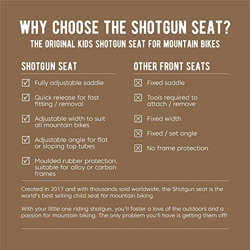 51vFHz3QRML. AC  - SHOTGUN Kids Bike Seat for Mountain Bikes | Front Mounted Bicycle Seats for Children 2-5 Years (up to 48 Pound) | Compatible with All Adult MTB | Easy to Install