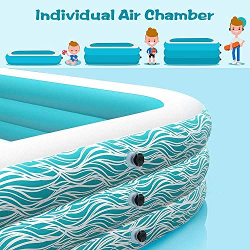 """51wbAq6E XL. AC  - heytech Family Inflatable Swimming Pool, 118"""" X 72"""" X 22"""" Full-Sized Inflatable Lounge Pool for Kiddie, Kids, Adult, Toddlers for Ages 3+, Outdoor, Garden, Backyard Summer Water Party Blow up Pool…"""
