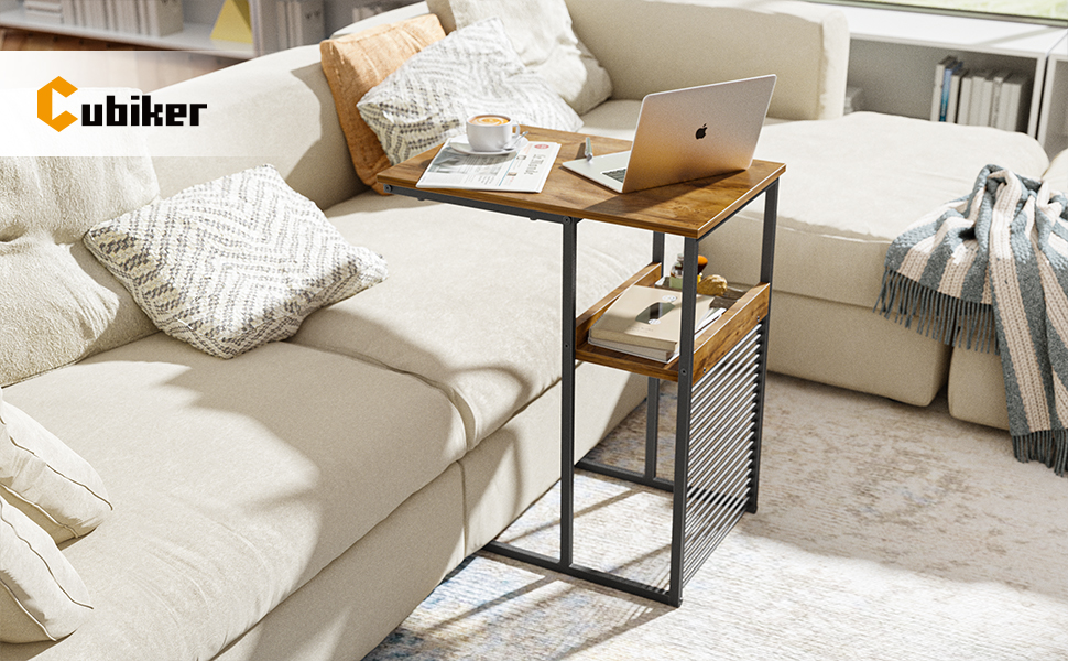 5d86e0b7 12f9 4960 a038 6f081ceb7b1f.  CR0,0,970,600 PT0 SX970 V1    - Cubiker Sofa Side End Table, Side Table with Wooden Shelf, C Shaped Couch Table for Living Room, Bedroom, Metal Frame Nightstand