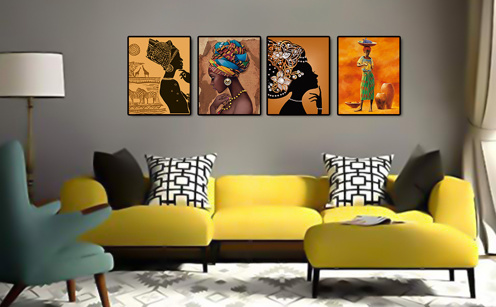 """5f872859 cf72 48b0 93ba 53afcc71da16.  CR0,0,970,600 PT0 SX970 V1    - Retro Style Tribal African American Wall Art Painting Set of 4 (8""""X10"""" Canvas Picture) Black Woman Ethnic Ancient Theme Diamond Girl Room Poster Art Painting Bedroom or Bathroom Decor Unframed"""