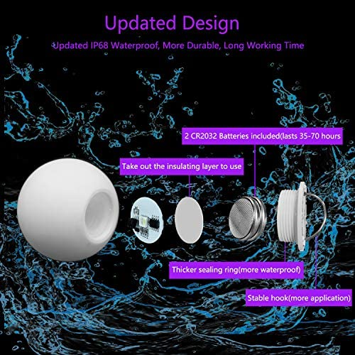 613mmgbDtxL. AC  - FROQUII Floating Pool Lights, 16 Colors Pond LED Ball Lights with Remote Control, Waterproof Cordless Hot Tub Lights Kids Night Light Ball Lamp for Pool Garden Backyard Lawn Beach Party Decor (1pcs)