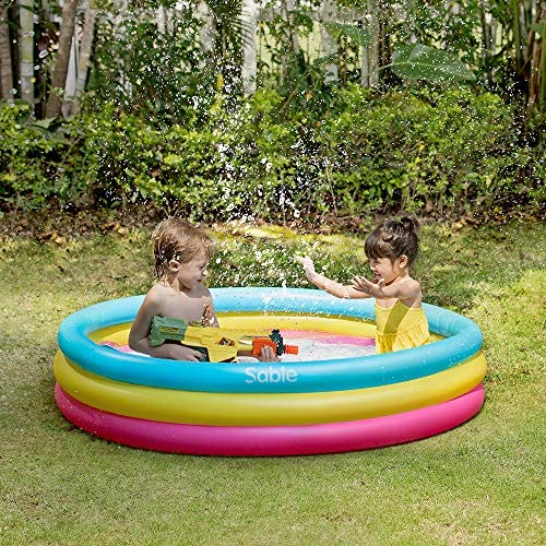 61Lbwk4fkGL. AC  - Sable Kiddie Pool, Inflatable Baby Pool 58'' x 13'', Kids Swimming Pools for Babies, Toddlers, Outdoor, Indoor, Garden