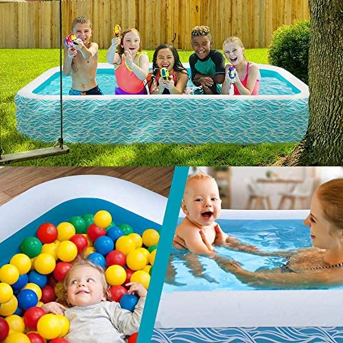 """61NPgMKF8zL. AC  - heytech Family Inflatable Swimming Pool, 118"""" X 72"""" X 22"""" Full-Sized Inflatable Lounge Pool for Kiddie, Kids, Adult, Toddlers for Ages 3+, Outdoor, Garden, Backyard Summer Water Party Blow up Pool…"""
