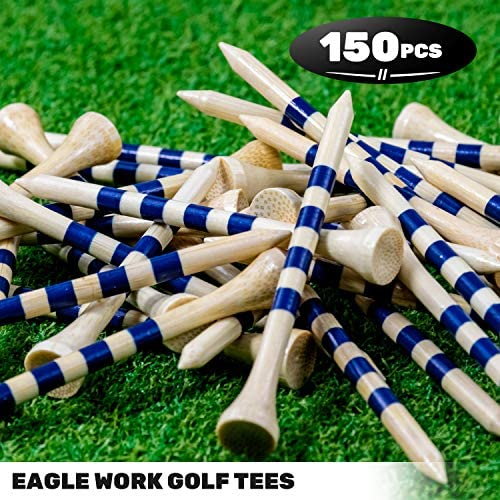 """61P93LMeWdL. AC  - EAGLE WORK Bamboo Golf Tees, 4 (1-1/2"""", 2-1/8"""", 2-3/4'' & 3-1/4''), Pack of 150/100 Professional Tees, Reduce Friction & Side Spin, More Durable and Stable Golf Tees"""