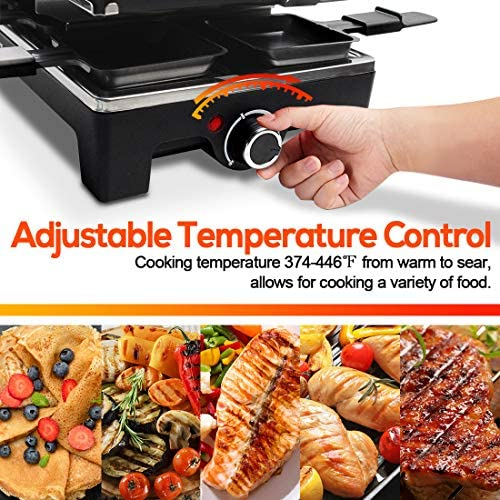 61WrNN5YKgL. AC  - CUSIMAX Raclette Grill Electric Grill Table, Portable 2 in 1 Korean BBQ Grill Indoor & Cheese Ractlette, Reversible Non-stick plate, Crepe Maker with Adjustable temperature control and 8 Paddles