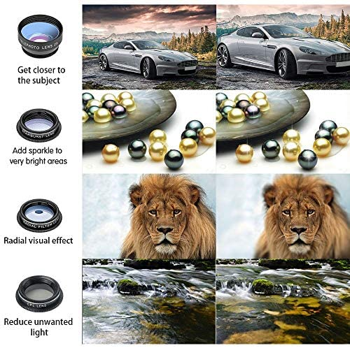 61YHTUzr4oL. AC  - Godefa Phone Camera Lens Kit, 14 in 1 Lenses with Selfie Ring Light for iPhone 12, 11, Xs, Xr,8 7 6s Plus, Samsung and Other Andriod Smartphone, Universal Clip on Wide Angle+Macro+ Zoom Camera Lenses