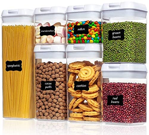 61yvKz53pvL. AC  - Airtight Food Storage Containers, Vtopmart 7 Pieces BPA Free Plastic Cereal Containers with Easy Lock Lids, for Kitchen Pantry Organization and Storage, Include 24 Labels