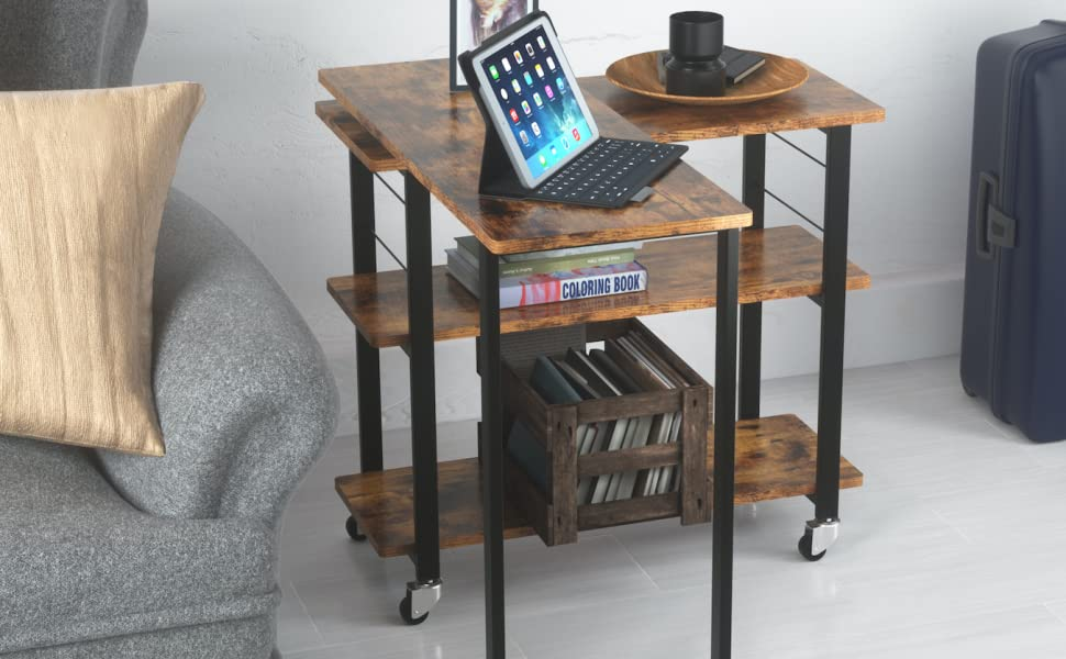 627eb572 61e4 4ba4 9309 5e61030f0e9b.  CR0,131,1352,836 PT0 SX970 V1    - Yechen Sofa Side Table, 360° Rotating Mobile Couch Desk Table, Movable Laptop Table with 2-Tier Storage Shelves, Couch Side Table Snack Table for Living Room Bedroom, Sturdy Metal Frame, 6 Casters