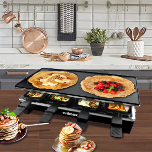 78b53323 4749 4ed5 958e 3a2529a2c2b6.  CR0,0,300,300 PT0 SX300 V1    - CUSIMAX Raclette Grill Electric Grill Table, Portable 2 in 1 Korean BBQ Grill Indoor & Cheese Ractlette, Reversible Non-stick plate, Crepe Maker with Adjustable temperature control and 8 Paddles